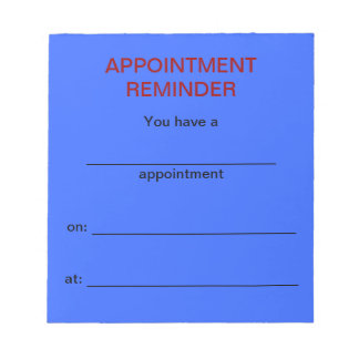 Appointment Reminder Notepad - Light Blue