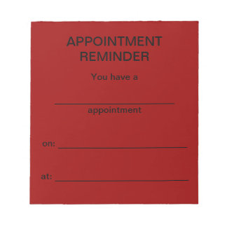 Appointment Reminder Notepad - Red w/Black Text