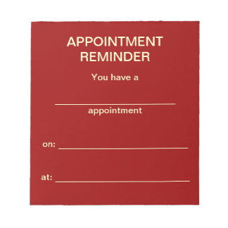 Appointment Reminder Notepad - Red w/White Text