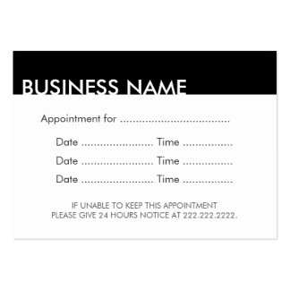 Appointment Reminder Plain Black & White Large Business Card