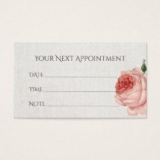 Appointment Reminder Vintage Floral Linen Business Card