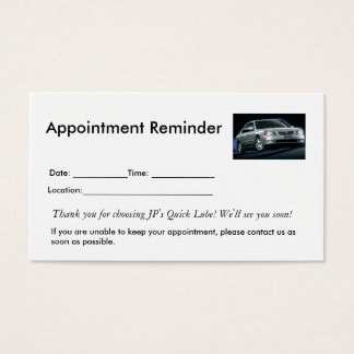 Appointment Reminders Business Card