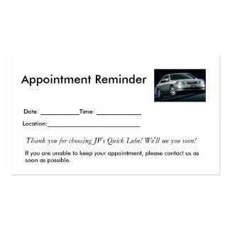 Appointment Reminders Double-Sided Standard Business Cards (Pack Of 100)