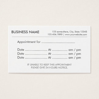 Appointment Reminder Business Cards Templates Zazzle - Business card appointment template