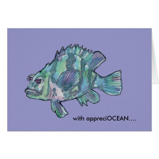 AppreciOCEAN cartoon fish grouper thank you card