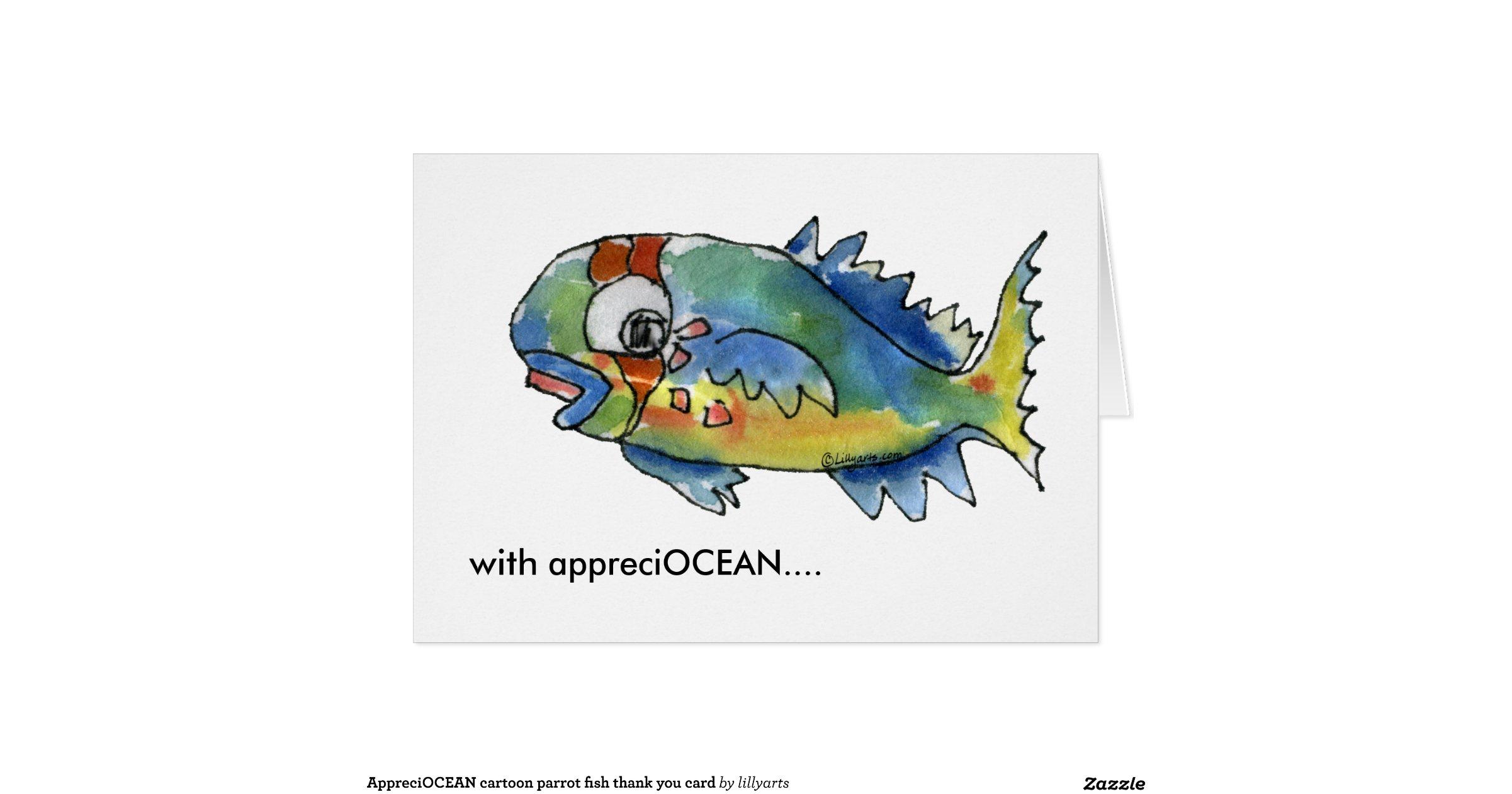 Appreciocean Cartoon Parrot Fish Thank You Card