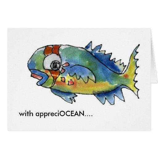Appreciocean Cartoon Parrot Fish Thank You Card Zazzle