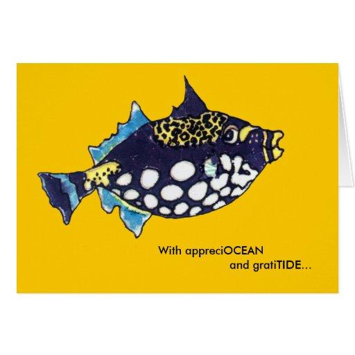 Appreciocean Gratitide Cartoon Fish Thank You Card Zazzle