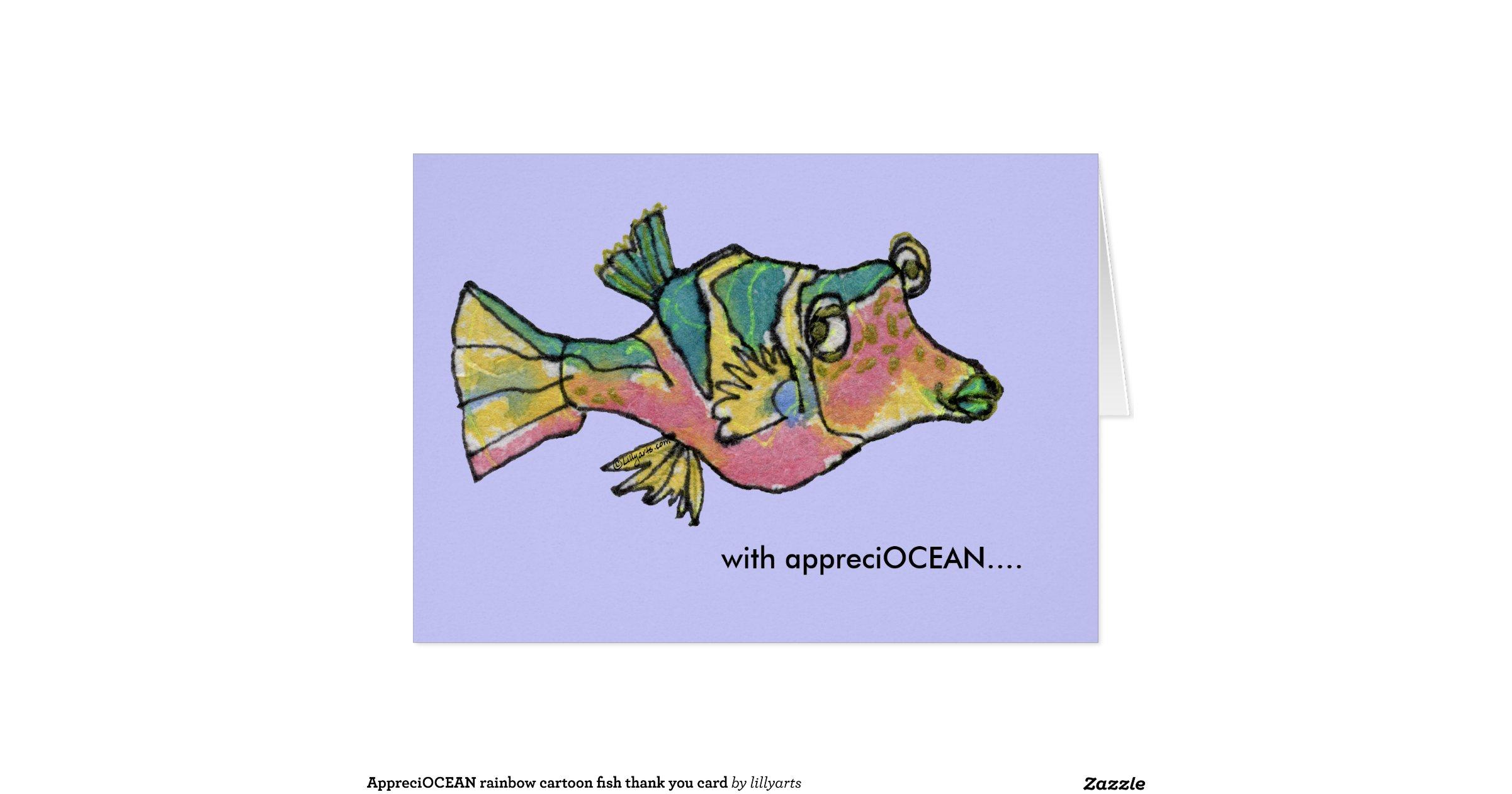 Appreciocean Rainbow Cartoon Fish Thank You Card