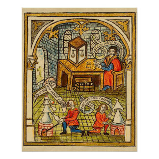 Apprentices in a Medieval Laboratory Poster