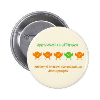 Apprivoisons la différence rond2 - macaron pinback button