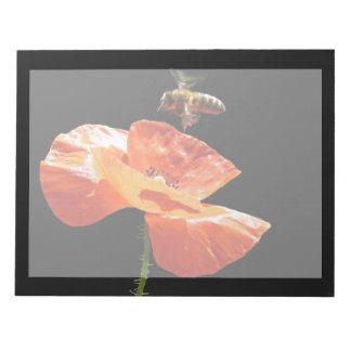Approach on poppy flower memo pad