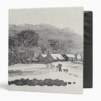 Approaching a Village in the Winter 3 Ring Binder