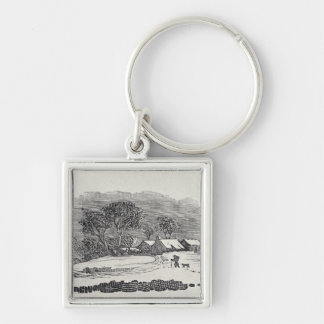 Approaching a Village in the Winter Keychain