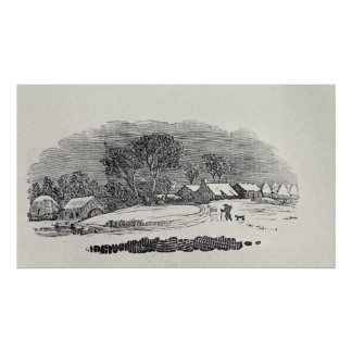 Approaching a Village in the Winter Print