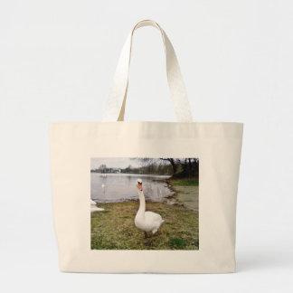 Approaching Curious Big White Swan Jumbo Tote Bag