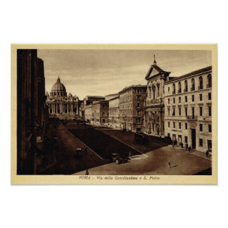 Approaching St Peter's Basilica Poster