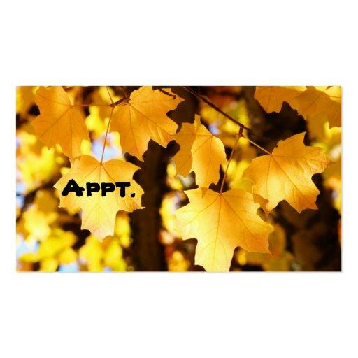Appt. Tarjeta amarilla de la cita de las hojas de  Plantillas De Tarjetas De Visita