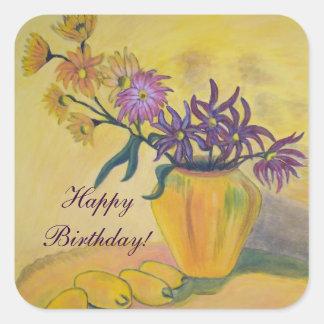appy Birthday Yellow Vase Flowers Square Sticker
