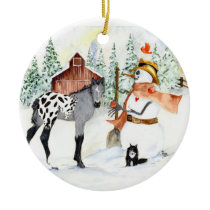 Appy colt and Snowman Ceramic Ornament