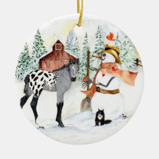 Appy colt and Snowman Ceramic Ornament