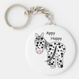 Appy feliz - Appaloosa del leopardo Llavero Redondo Tipo Pin