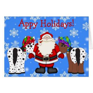 Appy Holidays Santa and Appaloosa Horses Christmas Card