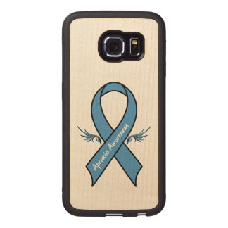 Apraxia Awareness Ribbon with Wings Wood Phone Case
