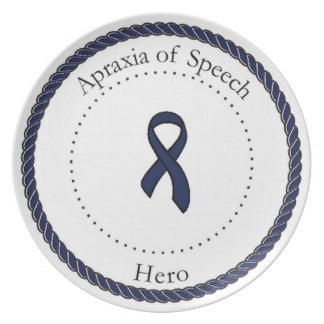 Apraxia de la placa del héroe del discurso platos para fiestas