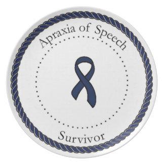 Apraxia de la placa del superviviente del discurso platos de comidas