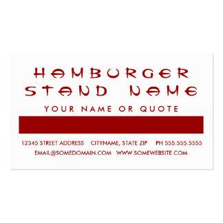 Aprecio del cliente de la HAMBURGUESA (cuadrados d Tarjetas De Visita
