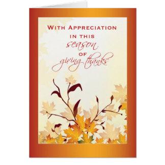 Aprecio del cliente en la acción de gracias, tarjeta de felicitación