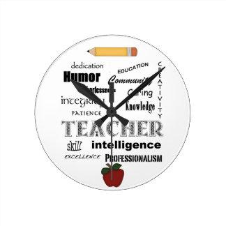 Aprecio del profesor+Apple rojo/lápiz (medio) Reloj Redondo Mediano