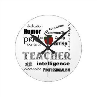 Aprecio del profesor+Apple rojo Reloj De Pared