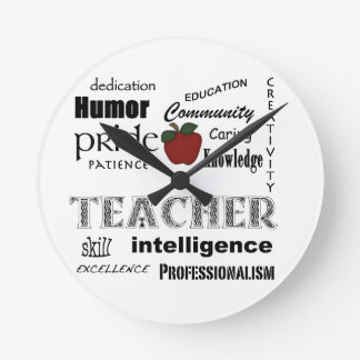 Aprecio del profesor+Apple rojo Reloj Redondo Mediano