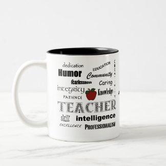 Aprecio del profesor+Apple rojo Taza De Dos Tonos