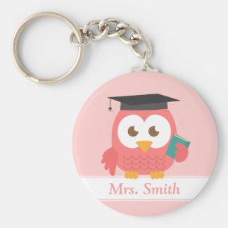 Aprecio del profesor, búho rosado llavero redondo tipo pin