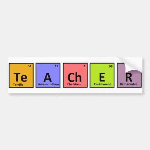 Aprecio del profesor de la tabla periódica pegatina de parachoque