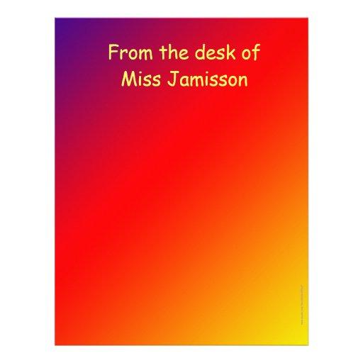 Aprecio del profesor del escritorio de, arco iris membrete personalizado
