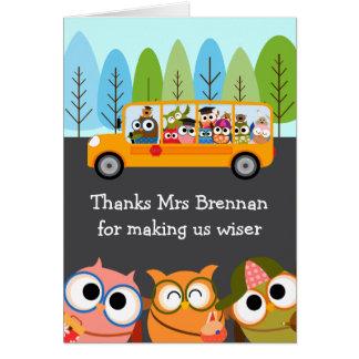 Aprecio lindo del profesor del autobús escolar de tarjeta de felicitación