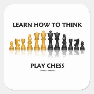 Aprenda cómo pensar el juego de ajedrez reflexivo pegatina cuadrada