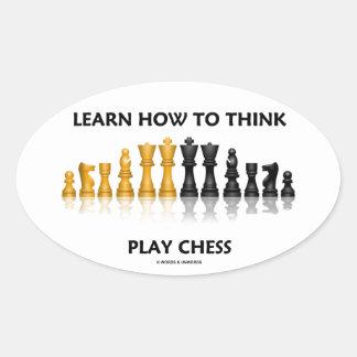 Aprenda cómo pensar el juego de ajedrez reflexivo pegatina ovalada