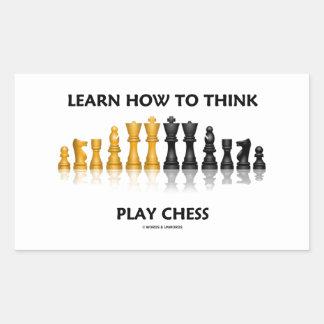 Aprenda cómo pensar el juego de ajedrez reflexivo pegatina rectangular