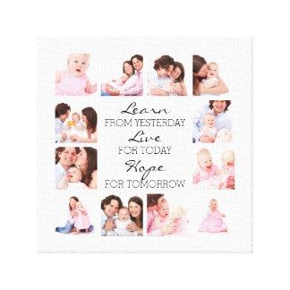 Aprenda el collage especial de la foto de familia impresión en tela