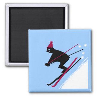 Aprenda esquiar imán cuadrado