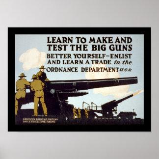 Aprenda hacer y probar los armas grandes póster