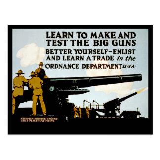 ¡Aprenda hacer y probar los armas grandes! Tarjeta Postal