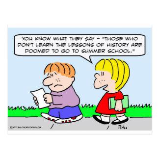 aprenda la escuela de verano de la historia de las tarjeta postal