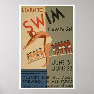 Aprenda nadar NYC WPA 1940 Posters