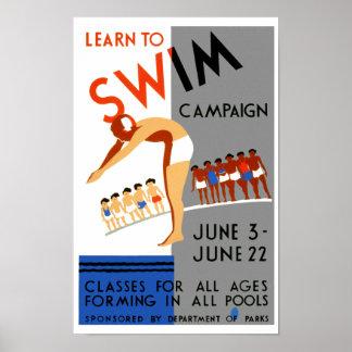 Aprenda nadar impresiones